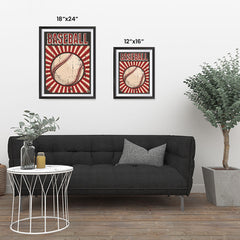 Ezposterprints - Ball Dark Red | Retro Sports Series BASEBALL Posters ambiance display photo sample