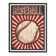 Ezposterprints - Ball Dark Red | Retro Sports Series BASEBALL Posters with frame photo sample