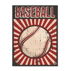 Ezposterprints - Ball Dark Red | Retro Sports Series BASEBALL Posters