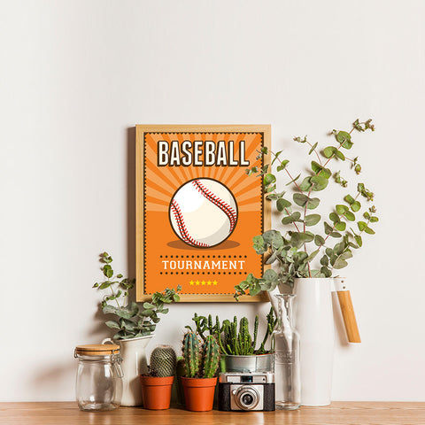 Ezposterprints - Ball Orange | Retro Sports Series BASEBALL Posters - 12x16 ambiance display photo sample