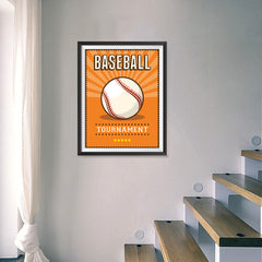 Ezposterprints - Ball Orange | Retro Sports Series BASEBALL Posters - 18x24 ambiance display photo sample