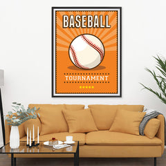 Ezposterprints - Ball Orange | Retro Sports Series BASEBALL Posters - 36x48 ambiance display photo sample