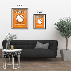 Ezposterprints - Ball Orange | Retro Sports Series BASEBALL Posters ambiance display photo sample