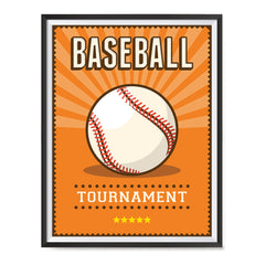 Ezposterprints - Ball Orange | Retro Sports Series BASEBALL Posters with frame photo sample