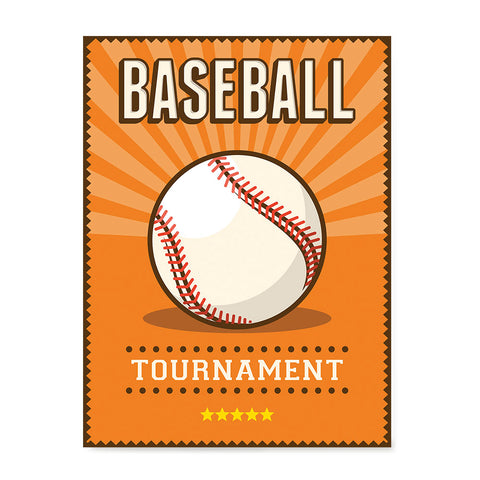 Ezposterprints - Ball Orange | Retro Sports Series BASEBALL Posters