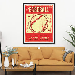 Ezposterprints - Ball Red | Retro Sports Series BASEBALL Posters - 36x48 ambiance display photo sample