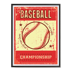 Ezposterprints - Ball Red | Retro Sports Series BASEBALL Posters with frame photo sample