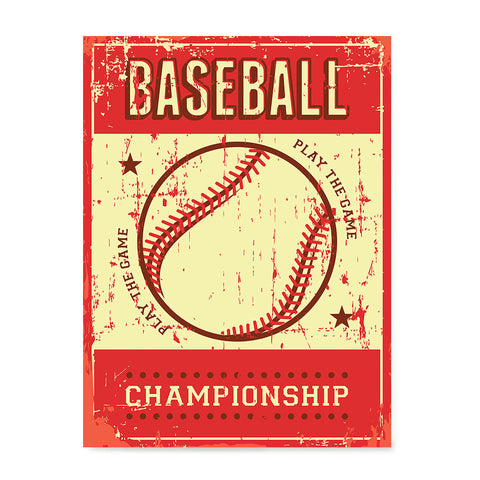 Ezposterprints - Ball Red | Retro Sports Series BASEBALL Posters