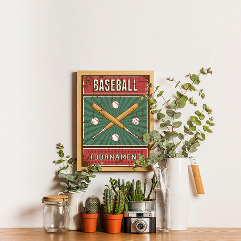 Ezposterprints - Bats Green | Retro Sports Series BASEBALL Posters - 12x16 ambiance display photo sample