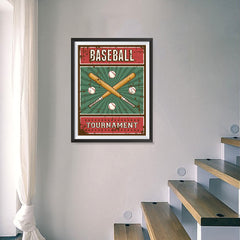 Ezposterprints - Bats Green | Retro Sports Series BASEBALL Posters - 18x24 ambiance display photo sample