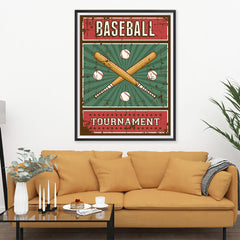 Ezposterprints - Bats Green | Retro Sports Series BASEBALL Posters - 36x48 ambiance display photo sample