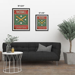 Ezposterprints - Bats Green | Retro Sports Series BASEBALL Posters ambiance display photo sample