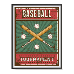 Ezposterprints - Bats Green | Retro Sports Series BASEBALL Posters with frame photo sample