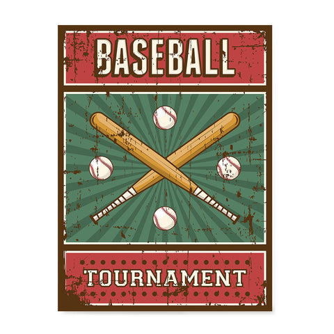 Ezposterprints - Bats Green | Retro Sports Series BASEBALL Posters