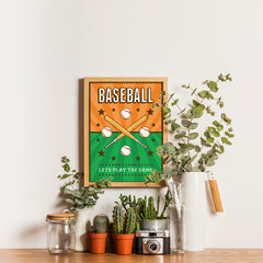 Ezposterprints - Bats Green Orange | Retro Sports Series BASEBALL Posters - 12x16 ambiance display photo sample
