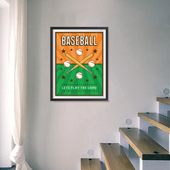 Ezposterprints - Bats Green Orange | Retro Sports Series BASEBALL Posters - 18x24 ambiance display photo sample