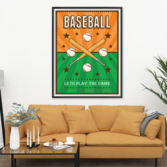 Ezposterprints - Bats Green Orange | Retro Sports Series BASEBALL Posters - 36x48 ambiance display photo sample