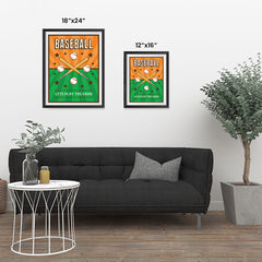 Ezposterprints - Bats Green Orange | Retro Sports Series BASEBALL Posters ambiance display photo sample