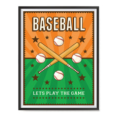 Ezposterprints - Bats Green Orange | Retro Sports Series BASEBALL Posters with frame photo sample