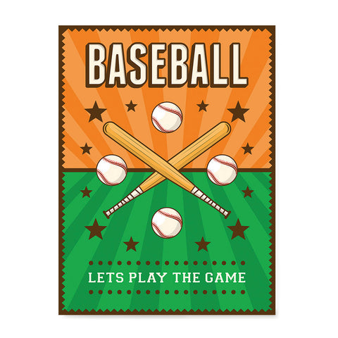 Ezposterprints - Bats Green Orange | Retro Sports Series BASEBALL Posters