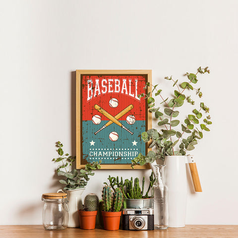 Ezposterprints - Bats Green Red | Retro Sports Series BASEBALL Posters - 12x16 ambiance display photo sample