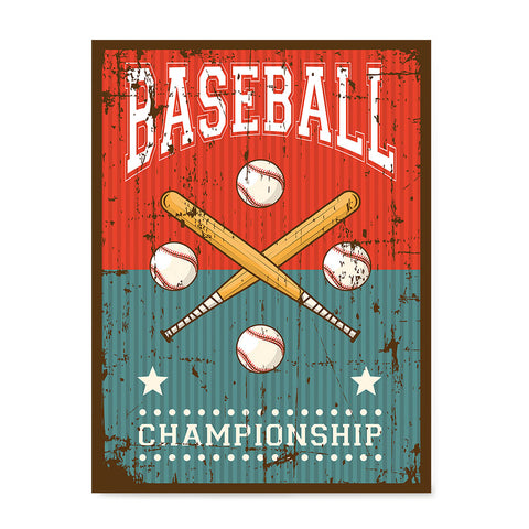 Ezposterprints - Bats Green Red | Retro Sports Series BASEBALL Posters