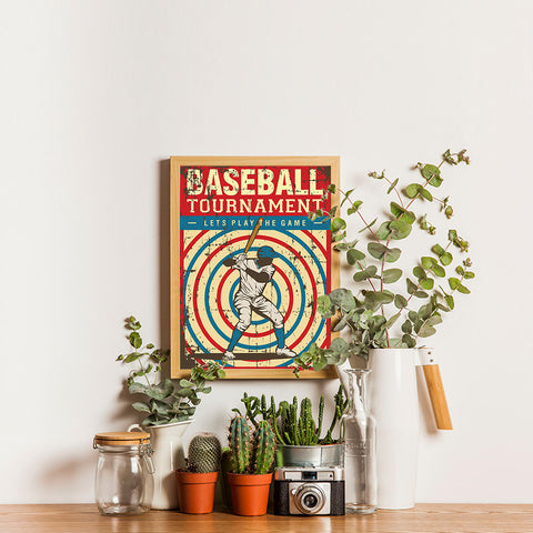 Ezposterprints - Player Blue Red | Retro Sports Series BASEBALL Posters - 12x16 ambiance display photo sample
