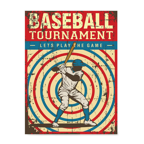 Ezposterprints - Player Blue Red | Retro Sports Series BASEBALL Posters