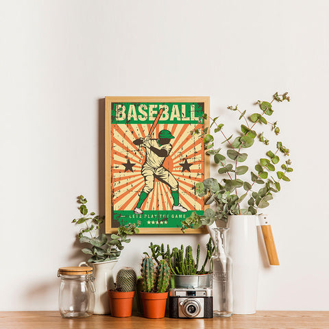 Ezposterprints - Player Green | Retro Sports Series BASEBALL Posters - 12x16 ambiance display photo sample