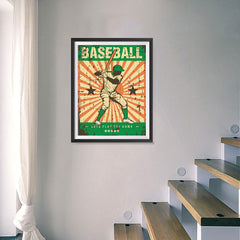 Ezposterprints - Player Green | Retro Sports Series BASEBALL Posters - 18x24 ambiance display photo sample