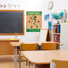 Ezposterprints - Player Green | Retro Sports Series BASEBALL Posters - 24x32 ambiance display photo sample