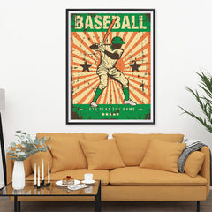 Ezposterprints - Player Green | Retro Sports Series BASEBALL Posters - 36x48 ambiance display photo sample