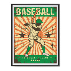 Ezposterprints - Player Green | Retro Sports Series BASEBALL Posters with frame photo sample