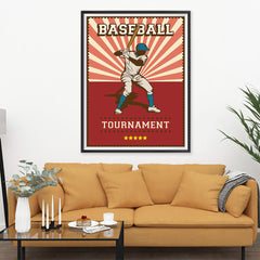 Ezposterprints - Player Red | Retro Sports Series BASEBALL Posters - 36x48 ambiance display photo sample