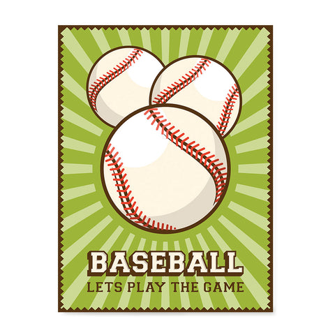 Ezposterprints - Three Balls | Retro Sports Series BASEBALL Posters