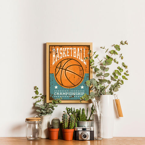 Ezposterprints - Ball Brown | Retro Sports Series BASKETBALL Posters - 12x16 ambiance display photo sample
