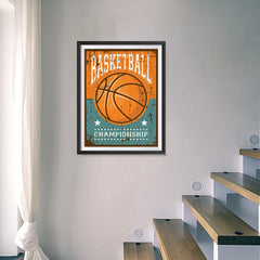 Ezposterprints - Ball Brown | Retro Sports Series BASKETBALL Posters - 18x24 ambiance display photo sample