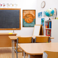Ezposterprints - Ball Brown | Retro Sports Series BASKETBALL Posters - 24x32 ambiance display photo sample