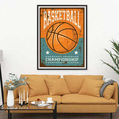 Ezposterprints - Ball Brown | Retro Sports Series BASKETBALL Posters - 36x48 ambiance display photo sample