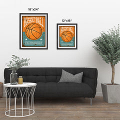 Ezposterprints - Ball Brown | Retro Sports Series BASKETBALL Posters ambiance display photo sample
