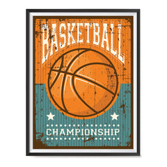 Ezposterprints - Ball Brown | Retro Sports Series BASKETBALL Posters with frame photo sample