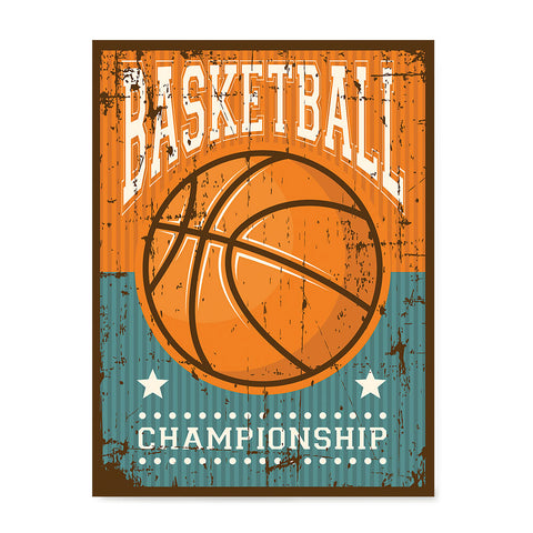 Ezposterprints - Ball Brown | Retro Sports Series BASKETBALL Posters