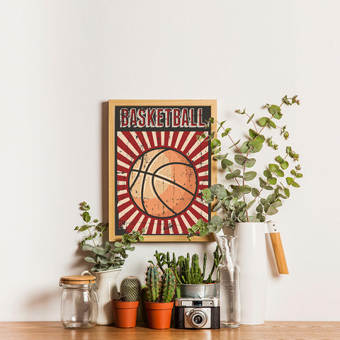 Ezposterprints - Ball Dark Red | Retro Sports Series BASKETBALL Posters - 12x16 ambiance display photo sample