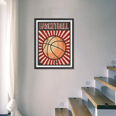 Ezposterprints - Ball Dark Red | Retro Sports Series BASKETBALL Posters - 18x24 ambiance display photo sample