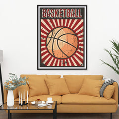 Ezposterprints - Ball Dark Red | Retro Sports Series BASKETBALL Posters - 36x48 ambiance display photo sample