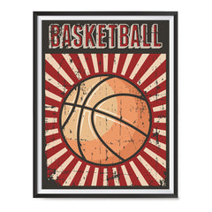 Ezposterprints - Ball Dark Red | Retro Sports Series BASKETBALL Posters with frame photo sample