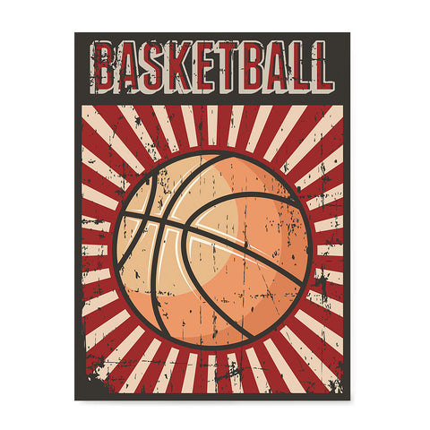 Ezposterprints - Ball Dark Red | Retro Sports Series BASKETBALL Posters