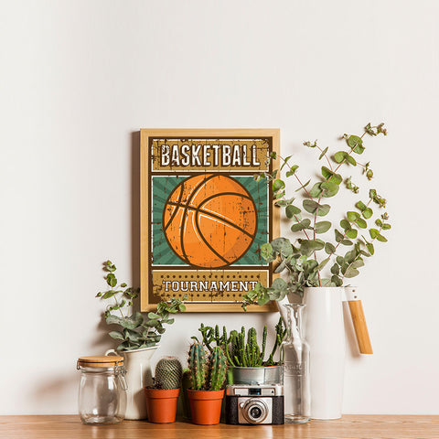 Ezposterprints - Ball Green | Retro Sports Series BASKETBALL Posters - 12x16 ambiance display photo sample