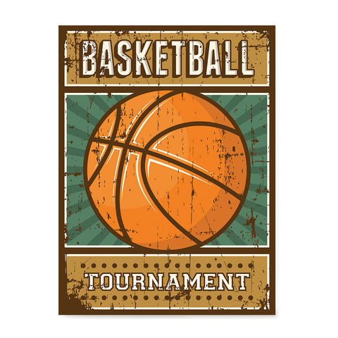 Ezposterprints - Ball Green | Retro Sports Series BASKETBALL Posters
