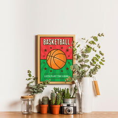 Ezposterprints - Ball Green Red | Retro Sports Series BASKETBALL Posters - 12x16 ambiance display photo sample